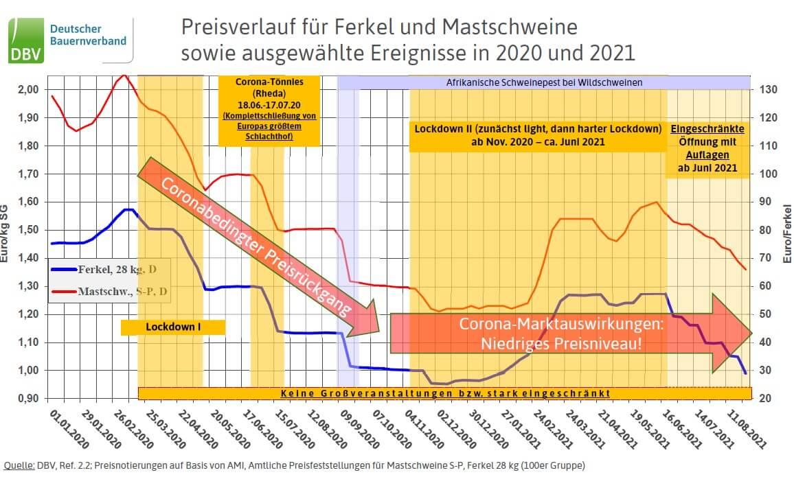 Preisverlauf für Ferkel und Mastschweine in 2020 und 2021